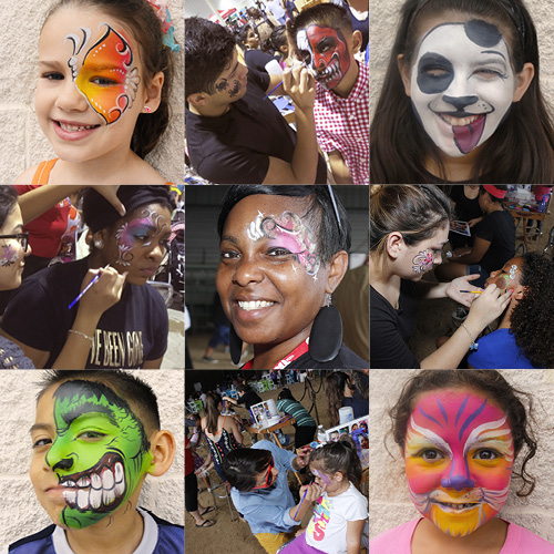 Various examples of face paint