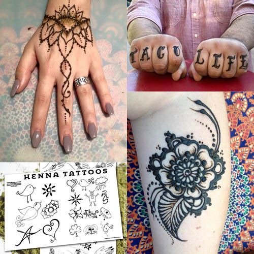 Different examples of henna tattoo.